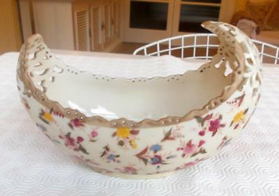 Vintage Zsolnay Boat Shaped Reticulated Dish Decorated Flowers 8.5In Maximum W.