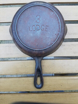 Antique Lodge # No 3 Cast Iron Skillet L Heat Ring Arch Logo Vtg HTF Rare Maekrs