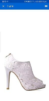 White Ankle Boot Shoes Size Uk 3