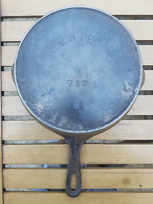 Antique Pre Griswold Erie # 8 Cast Iron Skillet 707 HTF Rare Heat Ring Antique