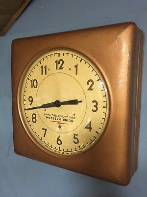 Vintage Self Winding Clock Co. Western Union Naval Observation Time Wall Clock