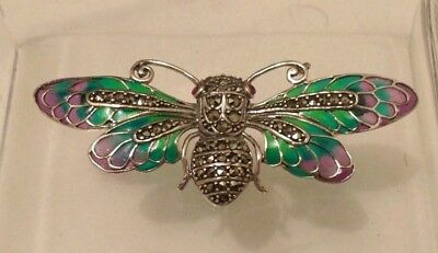 Vintage Inspired Silver Plique A Jour Style Marcasite Scarab Beetle Brooch Pin