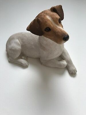 Sandicast Large Jack Russel Terrier Sculpture White With Tan Markings