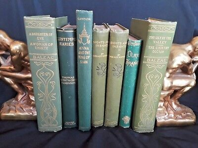 Antique! Lot of Six 19th Early 20th Century Green Decorative Books NR