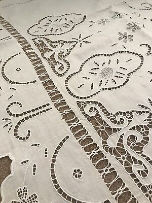 Antique white linen curtain hand-embroidery and handmade drawn needlelace