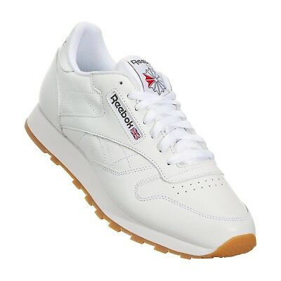 7592fee34cd98 Reebok Classic Leather CL White Red Gum Fashion Mens Shoes Sneakers 49797