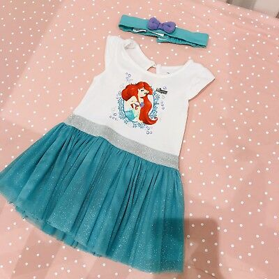 Disney The Little Mermaid Tutu Dress With Matching Bow Head Band 3-6 Party Baby