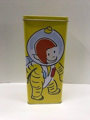 """Curious George Monkey Space Suit Empty Metal Tin 1998 Yellow 11"""" Rectangle Rare"""