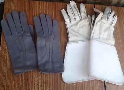 Vintage White Leather Gauntlet Gloves Classic Car Wear Plus 1 Other Pair size L