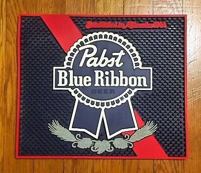 "Pabst Blue Ribbon Pbr Spill Mat Bar Mat Coaster 12.5"" X 9.75"""