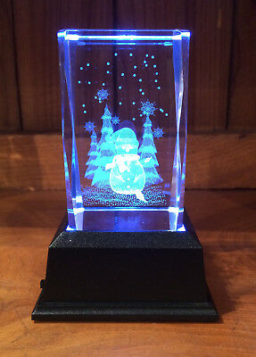 Snowman Optical Crystal Laser Block with LED Base Christmas Paperweight