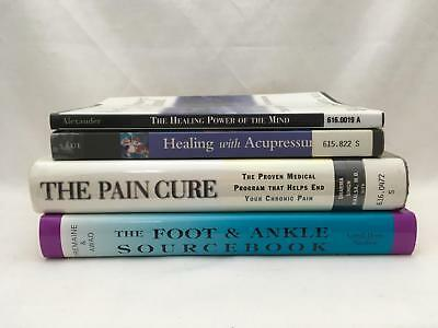 Lot of 4 Books Healing Power of the Mind , Pain Cure, Foot & Ankle & Acupressure