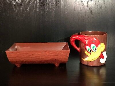 Vintage 1960's- Woody Woodpecker F&F Dieworks Plastic Cup and Bowl Walter Lantz