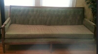 """furniture antique wood french style sofa 79"""" long, tufted beige cotton velvet"""