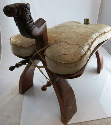 Antique wood decoritve Camel Saddle, Ottomen, Foot Stool with carved camel head