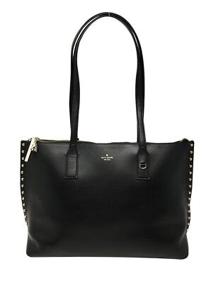 Kate Spade On Purpose Studded Black Leather Zip Top Tote Bag VCRUU1003  299 570c7d3e5b