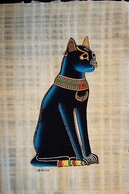 """EGYPTIAN BLUE CAT HAND PAINTED HAND MADE PAPYRUS ARTWORK 9"""" x 13"""""""