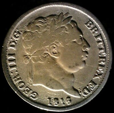 Great Britain 1818/7? + 1820, 6 Pence KM# 665 {Silver}
