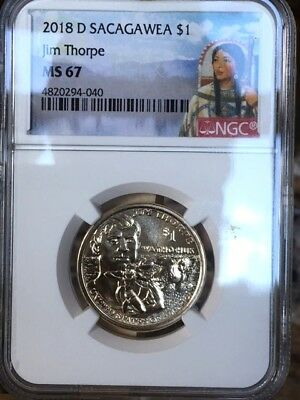 2018-D Sacagawea Jim Thorpe $1 NGC MS 67 * Gorgeous - Native American! *