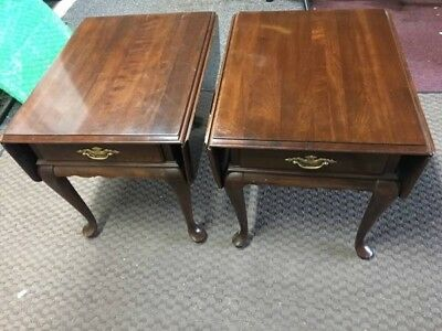 Ethan Allen Georgian Court Drop Leaf End Table, Pristine w/Custom Glass Covers