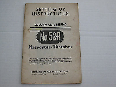 McCormick Deering Farmall Cultivator SetUp Instruction 52-R Harvester Thresher