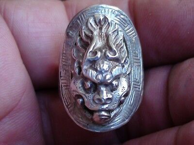 Antique Artisan Sterling Silver ASIAN MYSTICAL FACE RING