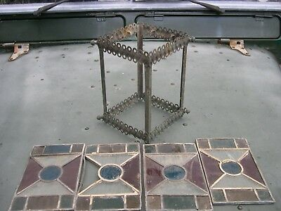 Original Stained Glass Brass Lantern For Oil Lamp Or Early Electric Rise & Fall