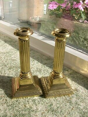 Rare Marked Pair Of Wmf Brass Column Candle Sticks 1908 To 1925 Period Clean