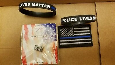 Police Lives Matter Thin Blue Line items...lapel pin, patch and 2 wristbands