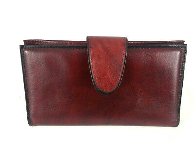 """Rolfs Womens Burgundy Cowhide Clutch Coin Check Wallet 6.75"""""""