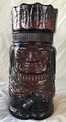 Vintage El Producto Indian Chief Dark Brown Glass Jar Cigar Tobacco Humidor