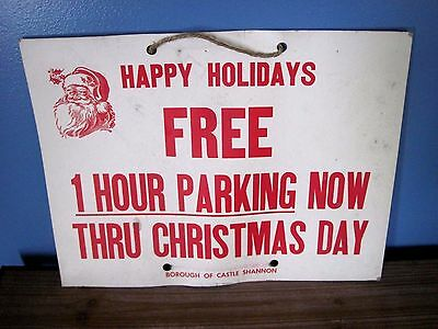 Vintage Castle Shannon, PA Happy Holiday Christmas Free Parking Cardboard Sign