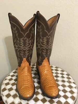 0d4ceced94e MADE IN USA Butterscotch Snake Leather Tony Lama Western Cowboy Boots 8.5 D
