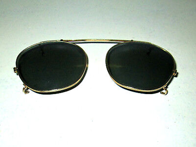 Antique Bausch & Lomb Clip On Sunglasses Spectacles Glasses Vtg Old Ray Ban B&L