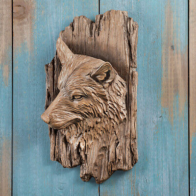 Rustic Carved Wolf's Head Wall Sculpture Man Cave Decor Wolf Art Cabin Lodge