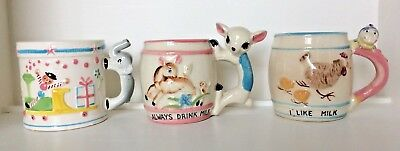 Vintage Ceramic Child's Milk Cup Napco Japan Clown Deer Elephant Christmas Train