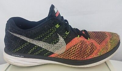 the best attitude 749bd 1bbc3 NIKE FLYKNIT LUNAR 3 Men's Rainbow Multi-Color Lace Up Running Trainer Shoes