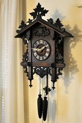 ANTIQUE RAILROAD CUCKOO CLOCK Early 1900's GOOD CONDITION VERY OLD (SEE VIDEO)