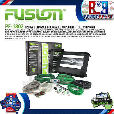 Fusion Performance Series Pf-1802 1200W 2 Channel Car Audio Amp + Wiring Kit