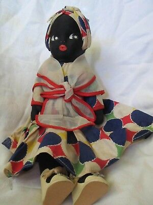 "Vintage Black Americana Cloth Doll 11""  W/beautiful Hand Painted Face"