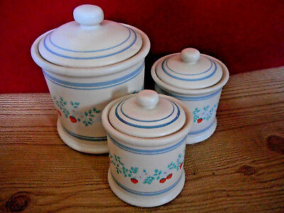3 CERAMIC KITCHEN Canisters Canister Set RETRO STRAWBERRY ...