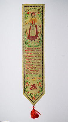 "Vintage jacquard woven silk bookmark; ""Mondays Child"" poem, Warner Artex?"