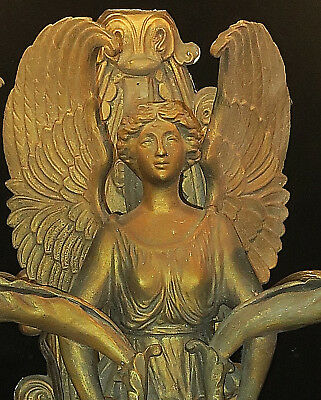 Antique shabby Spelter French lamp Vintage Angel Winged lady sconce Neoclassical