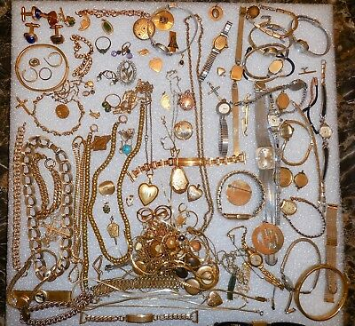 Gold Filled Scrap Lot of Jewelry Watches Wear Repair Rings 957 Grams NR Free S&H