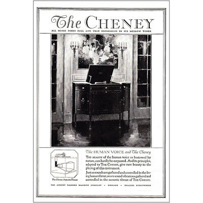1920 The Cheney: The Human Voice and The Cheney Vintage Print Ad