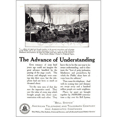 1921 American Telephone: The Advance of Understanding Vintage Print Ad