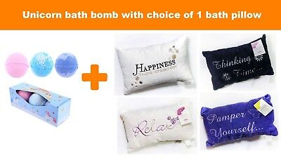 Luxury Embroidered Soft Microfibre Bath Pillow + 3 Unicorn Bath Bombs