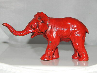 "Vintage Cast Metal Red Elephant Statue Figure ""Trunk Up"" GOOD LUCK"