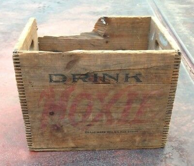 Vintage Drink Moxie Soda Wood Crate Box Case Sign Art