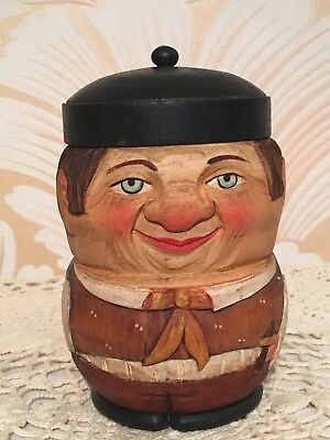 Anri Vintage Wood Carved Head Man Tobacco Cigarette Jar Box Humidor Figural-Rare